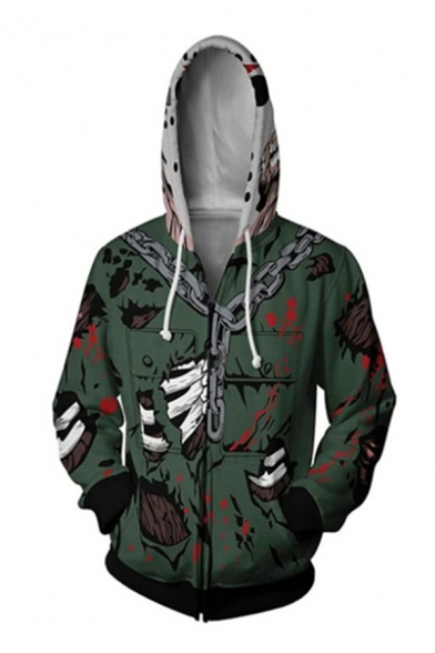 Cool Fancy Boys Green Long Sleeve Drawstring Zipper Up Chain Comic 3D Printed Relaxed Hoodie