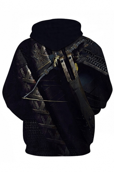 Creative Boys Long Sleeve Drawstring Popular Game 3D Belt Geo Cosplay Printed Color Block Relaxed Fit Hoodie with Pocket