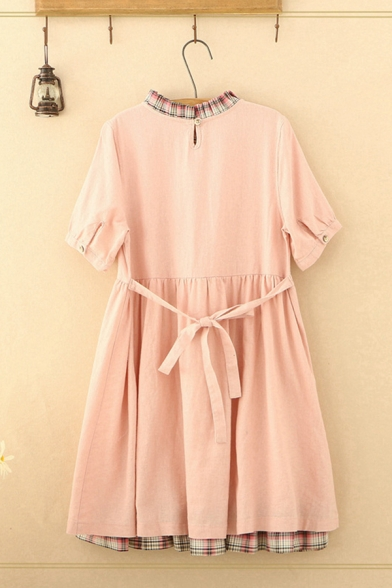 Cute Girls Pink Short Sleeve Round Neck Stringy Selvedge Plaid Patchwork Rabbit Embroidered Bow Tied Mid Pleated Babydoll Dress