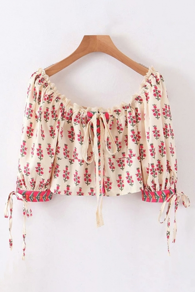 Ethnic Girls Short Sleeve Off the Shoulder Bow Tie All-Over Floral Patterned Cropped Blouse Top in Apricot