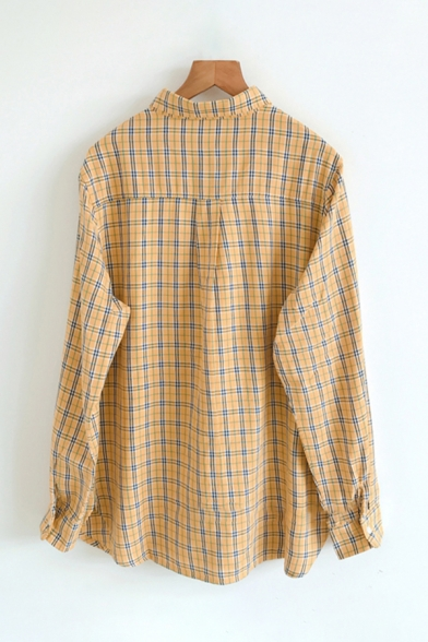 Fancy Womens Long Sleeve Lapel Collar Button Front Plaid Patterned Relaxed Fit Shirt in Yellow