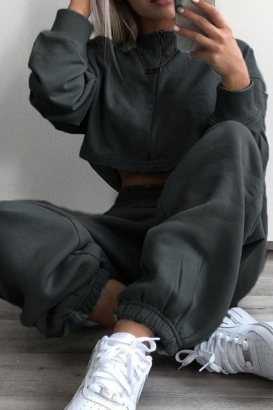 Fashionable Women's Drawstring Waist Solid Color Cuffed Ankle Baggy Sweatpants