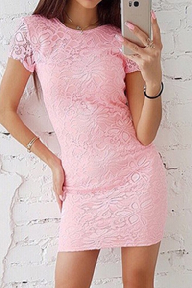 Hot Popular Women's Short Sleeve Round Neck Semi-Sheer Lace Solid Color Mini Bodycon Dress