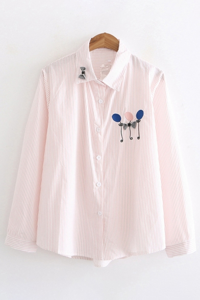 Lovely Girls' Long Sleeve Lapel Neck Button Down Balloon Bow Tie Printed Relaxed Fit Shirt