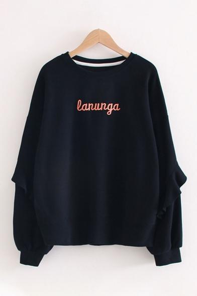 Popular Stylish Womens Long Sleeve Crew Neck Letter LANUNGA Printed Ruffled Trim Oversize Pullover Sweatshirt LM599129 фото