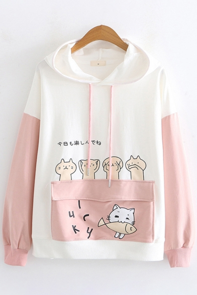 Popular Trendy Ladies Long Sleeve Hooded Drawstring Letter LUCKY Cat Graphic Flap Pocket Color Block Loose Cat Ear Hoodie