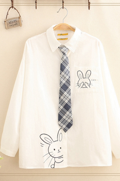 Preppy Girls' Long Sleeve Lapel Collar Button Down Rabbit Pattern Loose Fit White Shirt with Tie