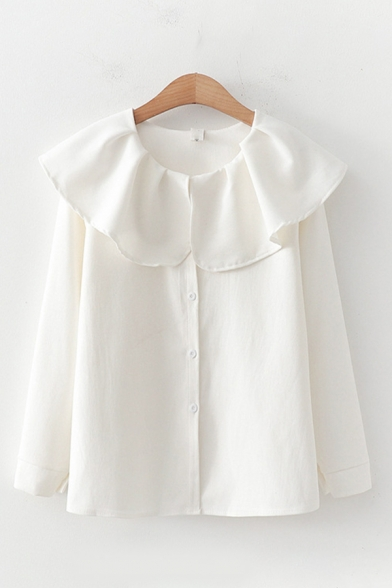 Preppy Ladies Solid Color Long Sleeve Peter Pan Collar Button Down Relaxed Shirt