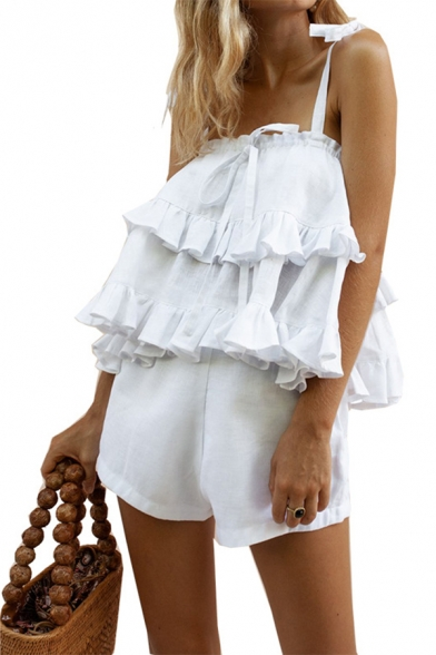 Pretty Girls' Plain Sleeveless Tied Shoulder Ruffle Trim Loose Cami Top with Shorts