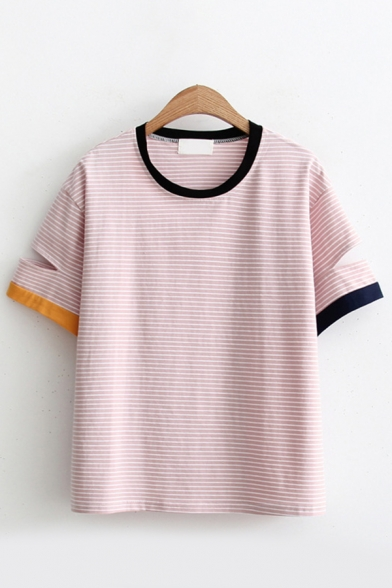 Stylish Womens Pink Short Sleeve Round Neck Stripe Printed Contrast Piped Cut Out Relaxed Fit T Shirt
