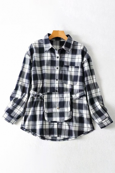 Women's Classic Black Long Sleeve Lapel Collar Button Down Checkered Printed Pocket Panel Loose Shirt with Bag