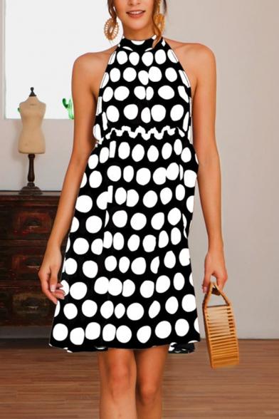 Amazing Women's Sleeveless Halter Polka Dot Printed Mini A-Line Dress