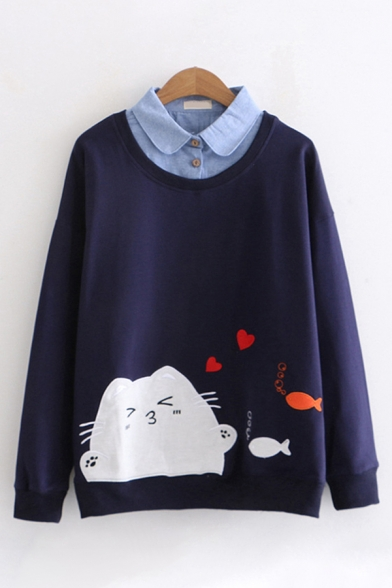 Casual Girls Long Sleeve Lapel Collar Button Cat Fish Heart False Two Piece Loose Fit Pullover Sweatshirt