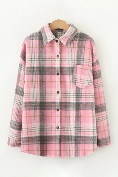 Casual Women's Long Sleeve Lapel Neck Button Down Pocket Panel Checker Printed Loose Fit Shirt