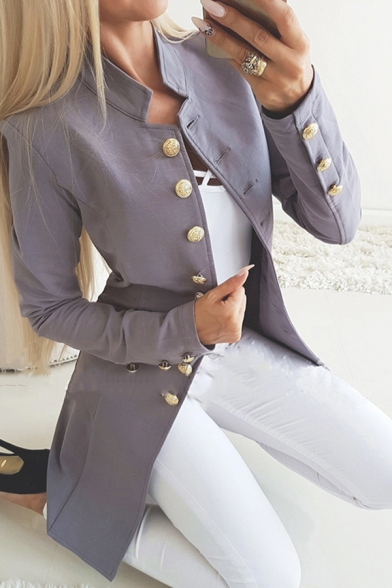 Formal Women's Plain Long Sleeve Stand Collar Button Down Plain Slim Fit Blazer LM594555 фото