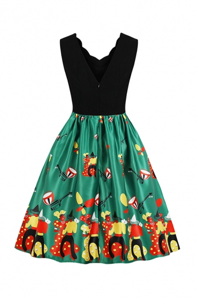 Glamorous Ladies' Sleeveless V-Neck Scallop Trim Cartoon Printed Patchwork Long Pleated Flared Dress in Black