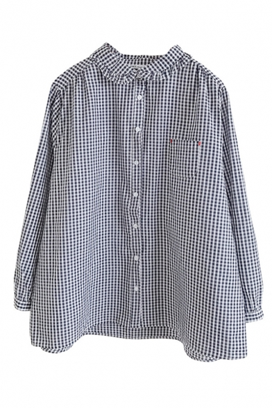 Leisure Girls Long Sleeve Lapel Neck Button Down Checker Printed Stringy Selvedge Loose Fit Shirt
