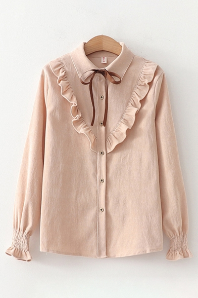 Lovely Girls' Long Sleeve Lapel Neck Bow Tie Ruffled Trim Button Down Solid Color Relaxed Fit Shirt