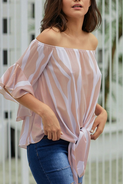 Pink Stylish Street Bell Sleeves Off the Shoulder Tied Hem Striped Fitted T-Shirt for Female