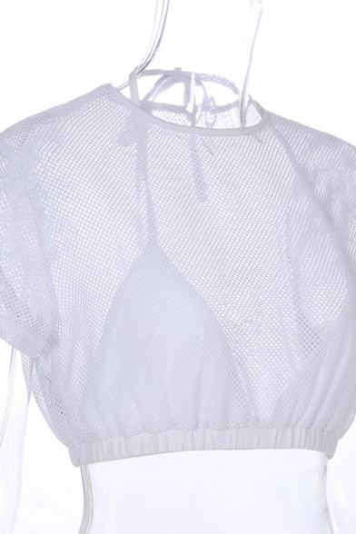 Street Sexy Girls Short Sleeve Halter Sheer Fishing Net Fake Two-Piece Cropped Top in White