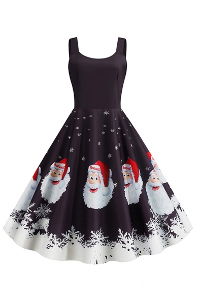 Vintage Ladies' Sleeveless Round Neck Santa Claus Pattern Pleated Swing Dress for Christmas Party