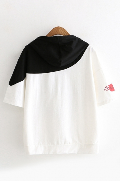Womens Stylish Short Sleeve Drawstring Goast Stripe Printed Color Block Loose Fit Tee Top