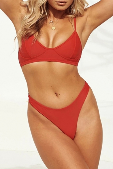 Beach Girls Sleeveless Solid Color Slim Fit Cropped Bikini Sets