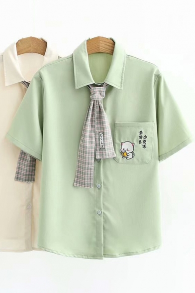 Leisure Womens Short Sleeve Lapel Collar Button Down Cartoon Embroidered Plaid Pattern Tie Loose Shirt