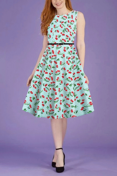 Lovely Girls Sleeveless Round Neck Allover Cherry Pattern Buckle Long A-Line Pleated Dress
