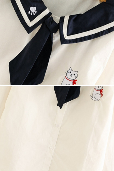 Preppy Girls' Long Sleeve Sailor Collar Cat Printed Contrasted Striped Button Down Relaxed Shirt