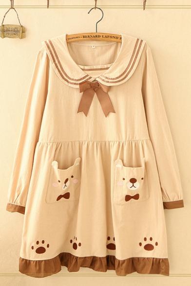 Preppy Looks Long Sleeve Sailor Collar Striped Contrasted Bear Paw Pattern Pocket Panel Ruffled Short Swing Dress for Girls