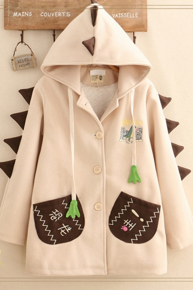 Pretty Leisure Women's Long Sleeve Button Down Fringe Drawstring Patched Pockets Dinosaur Pattern Contrasted Loose Wool Coat