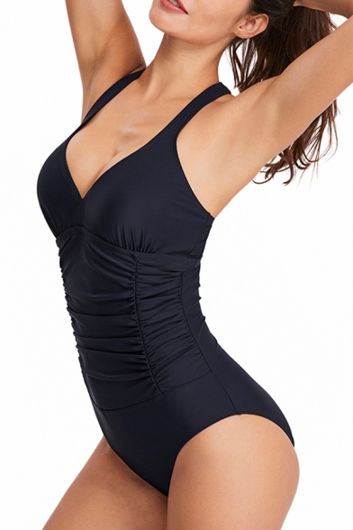 Simple Solid Color Sleeveless Ruched Hollow Out Back Slim Fit Bodysuit for Swimming Girls