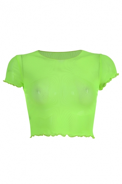 Stylish Hot Short Sleeve Round Neck Stringy Selvedge See-Through Mesh Plain Fitted Crop T Shirt