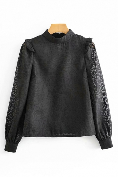 Stylish Ladies Long Sleeve Mock Neck Leopard Pattern Semi-Sheer Mesh Relaxed Fit Blouse Top in Black