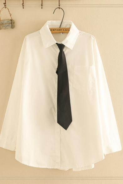 Basic Classic Ladies' Long Sleeve Lapel Collar Button Down Loose Fit White Shirt with Tie