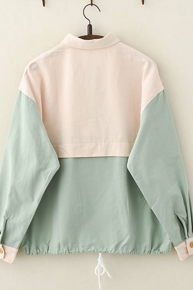 Cute Womens Long Sleeve Lapel Collar Button Up Cat Embroidered Colorblocked Drawstring Hem Patchwork Loose Jacket