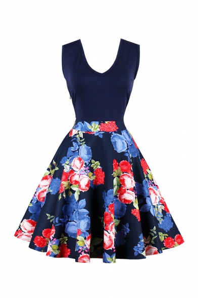 Gorgeous Girls' Royal Blue Sleeveless V-Neck Floral Patterned Midi Pleated Flared Dress for Prom