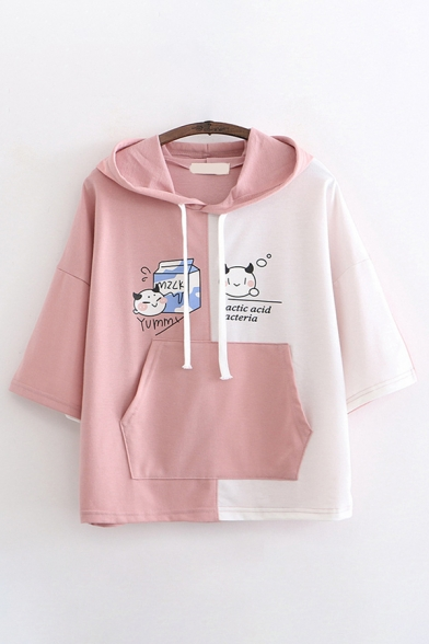 Trendy Womens Short Sleeve Drawstring Cartoon Milk Letter YUMMY Graphic Colorblocked Relaxed Fit Hoodie