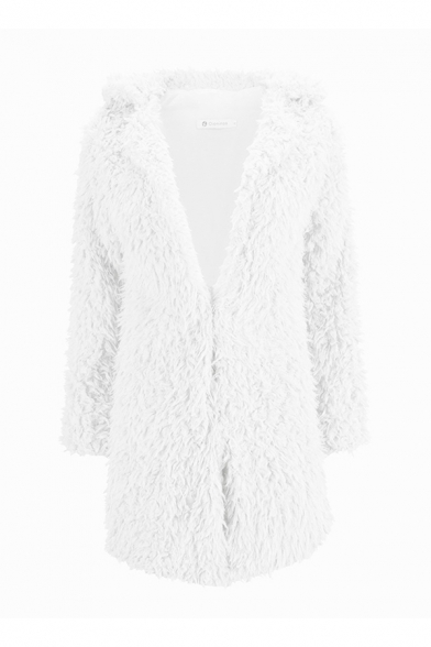 Winter Warm Women's Plain Long Sleeve Lapel Collar Zipper Front Sherpa Long Loose Fit Coat