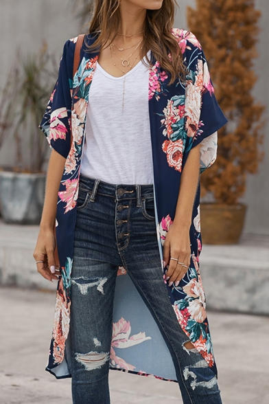 Casual Womens Bell Sleeves All Over Floral Printed Oversize Long Shirt