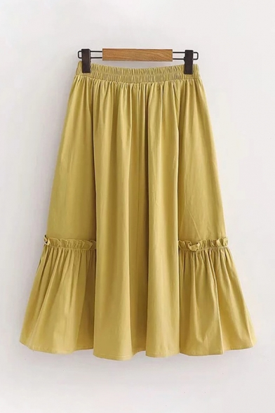Classic Ladies Solid Color Elastic Waist Stringy Selvedge Pleated Long A-Line Skirt LM599345 фото