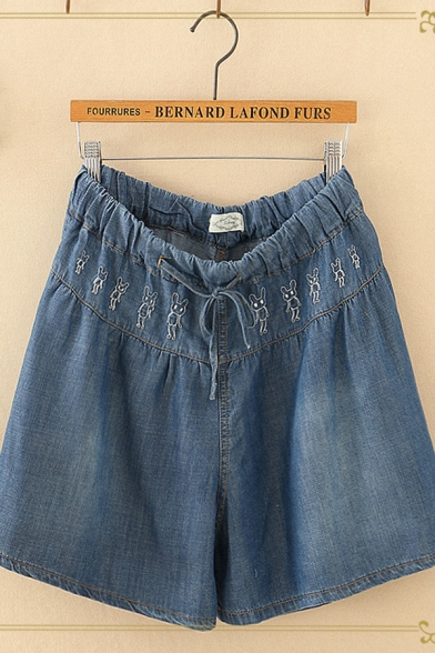 Cool Drawstring Waist Rabbit Embroidery Bleach Relaxed Fitted Denim Blue Shorts