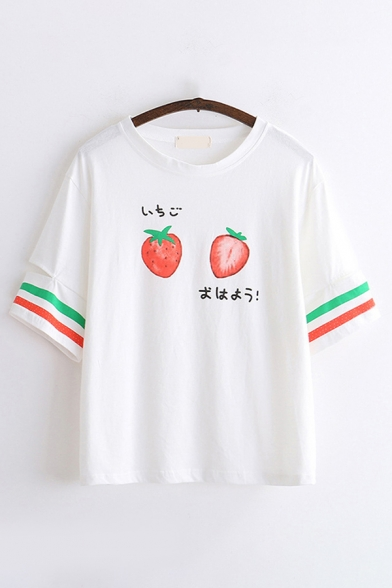 Cute Girls Short Sleeve Round Neck Strawberry Stripe Japanese Letter Graphic Relaxed Tee Top
