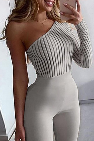 Edgy Girls' Single Sleeve Drop Shoulder Knitted Tight Plain Jumpsuit