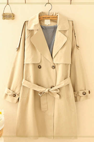 Elegant Ladies Long Sleeve Notched Collar Double Breasted Bow Tie Waist Long Plain Loose Trench Coat