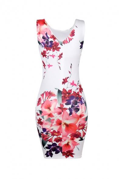 Elegant Sexy Ladies' White Sleeveless Round Neck Floral Pattern Mini Tight Tank Dress