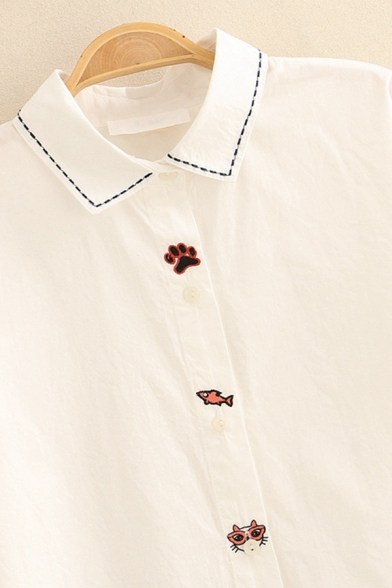 Lovely Basic Girls Long Sleeve Lapel Collar Button Down Footprint Fish Cat Embroidery Contrast Piped Loose Shirt in White