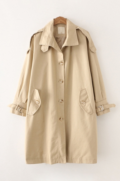 Popular Ladies Long Sleeve Lapel Neck Button Down Flap Pockets Buckle Straps Longline Oversize Trench Coat