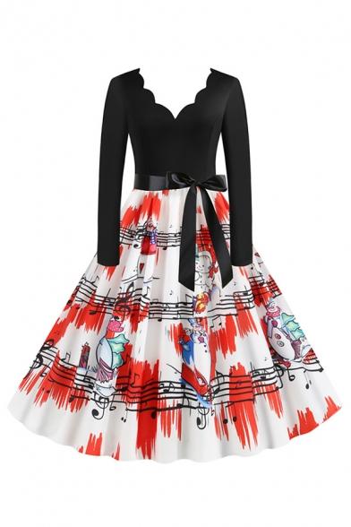 Pretty Girls' Long Sleeve V-Neck Scallop Trim Bow Tie Waist Santa Claus Snowman Pattern Maxi Pleated Flared Dress